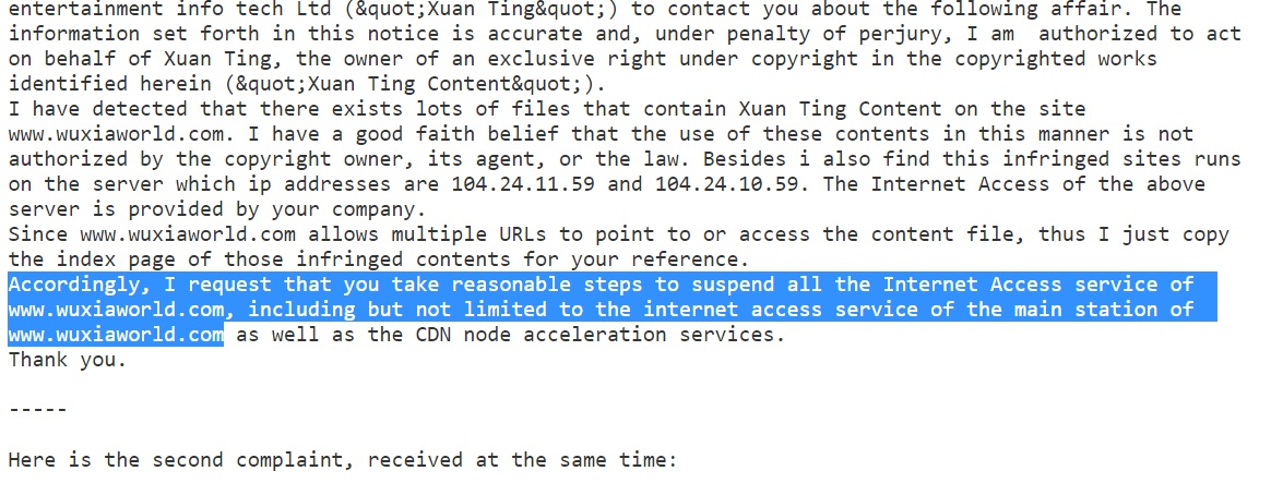 Qidian has issued DMCA to Wuxiaworld's hosting servers to take down